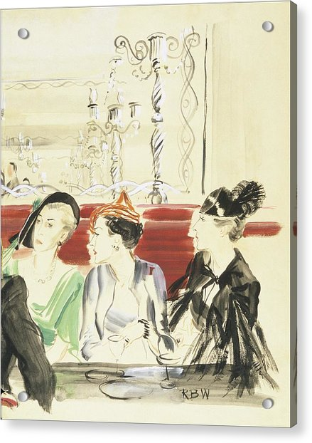 Illustration Of Three Women Wearing Designer Hats Acrylic Print