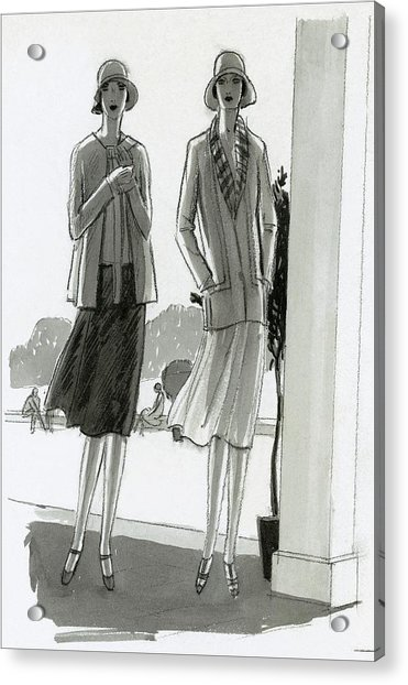 Illustration Of Two Women Standing In A Shadow Acrylic Print