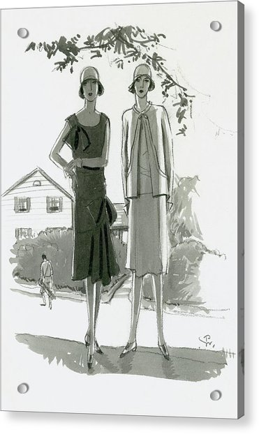 Illustration Of Two Women Standing In Shadow Acrylic Print