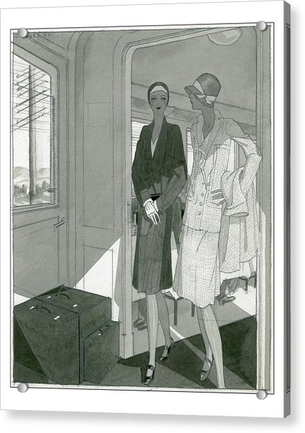 Illustration Of Two Women Traveling Cross-country Acrylic Print