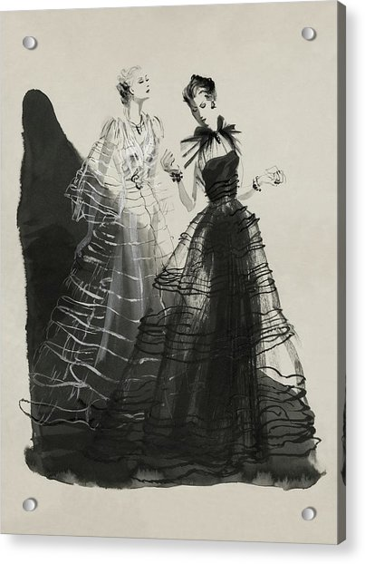 Illustration Of Two Women Wearing Evening Gowns Acrylic Print