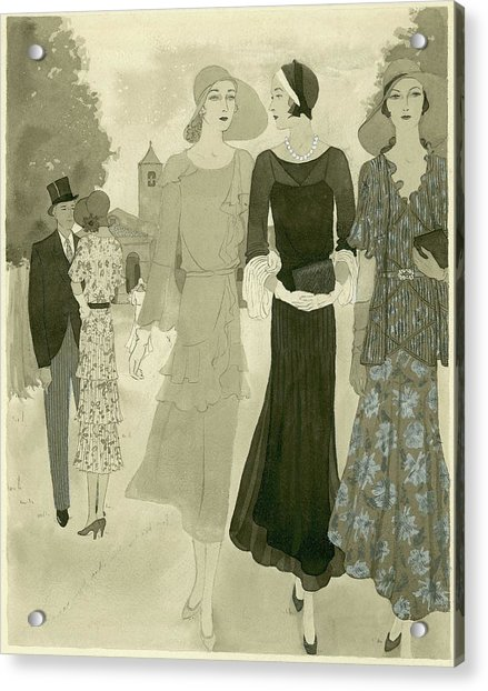 Illustration Of Wedding Guests At A Country Acrylic Print