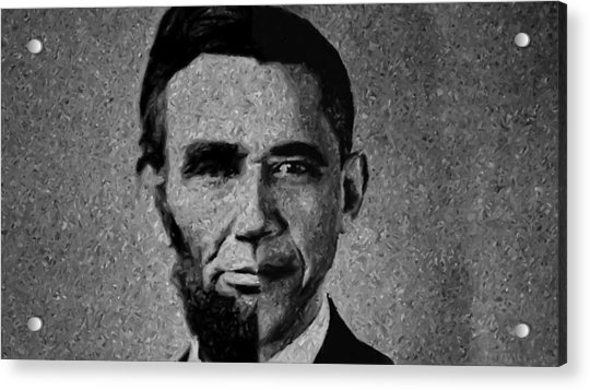 Impressionist Interpretation Of Lincoln Becoming Obama Acrylic Print