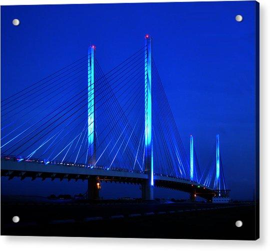 Indian River Bridge At Night Acrylic Print