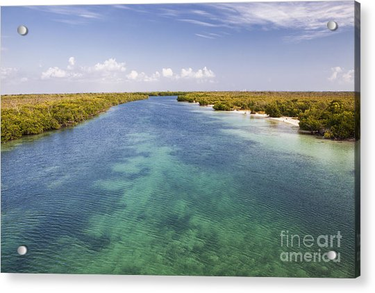 Inlet Leading To Caribbean Ocean Acrylic Print