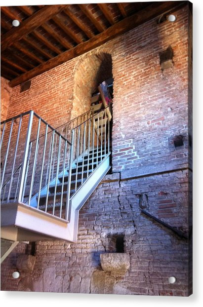 Inside Stairway Of Old Tower In Lucca Italy Acrylic Print