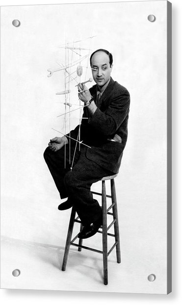 Isamu Noguchi Holding One Of His Structures Acrylic Print by Herbert Matter