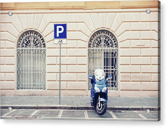 Italian Scooter Parked On The Street Acrylic Print