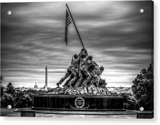 Iwo Jima Monument Black And White Acrylic Print