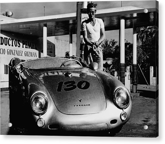 James Dean Filling His Spyder With Gas In Black And White Acrylic Print