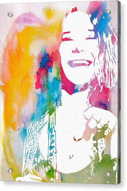 Janis Joplin Watercolor Acrylic Print