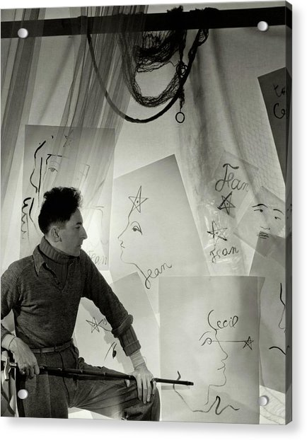 Jean Cocteau With A Cane And Drawings Acrylic Print by Cecil Beaton