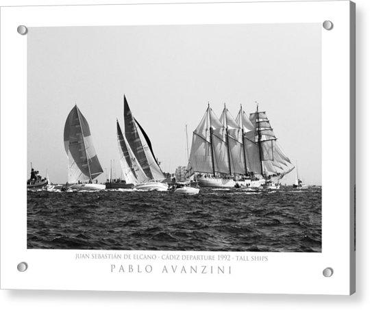 Juan Sebastian Elcano Departing The Port Of Cadiz Acrylic Print