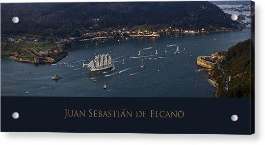 Juan Sebastian Elcano Departing The Port Of Ferrol Acrylic Print