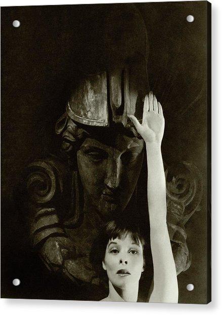 Katharine Hepburn Raising Her Hand Acrylic Print by Cecil Beaton