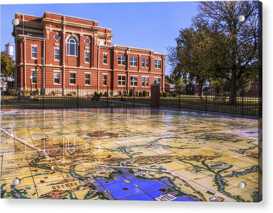 Acrylic Print featuring the photograph Kiowa County Courthouse With Mural - Hobart - Oklahoma by Jason Politte