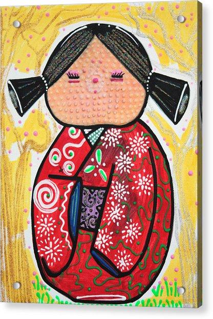 Kokeshi Acrylic Print by Laura Barbosa