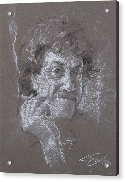 Acrylic Print featuring the drawing Kurt -- Unfinished Sketch by Cliff Spohn