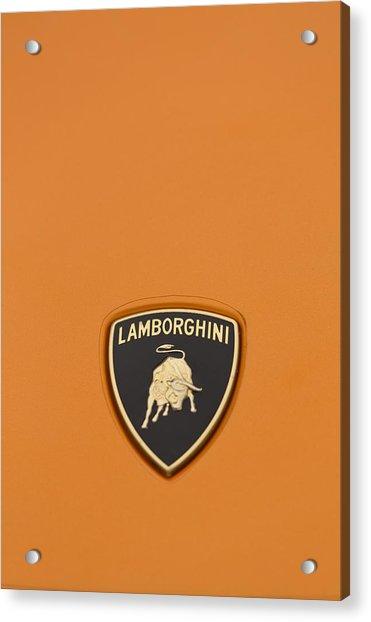 Lambo Hood Ornament Orange Acrylic Print