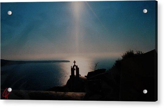 Acrylic Print featuring the photograph Late Evening Meditation On Santorini Island Greece by Colette V Hera  Guggenheim