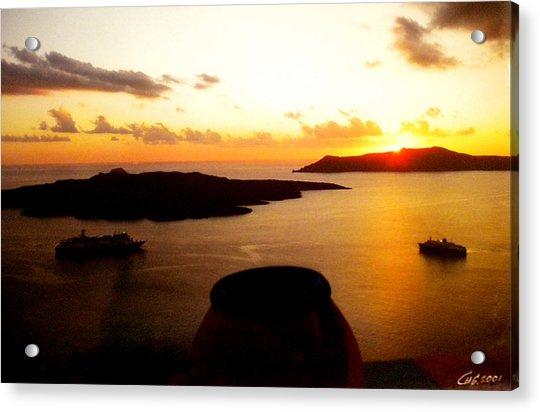 Acrylic Print featuring the photograph Late Sunset Santorini  Island Greece by Colette V Hera  Guggenheim