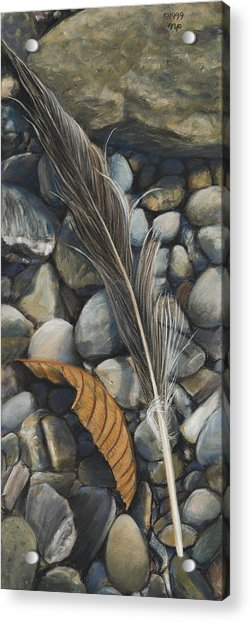 Leaf And Feather Acrylic Print