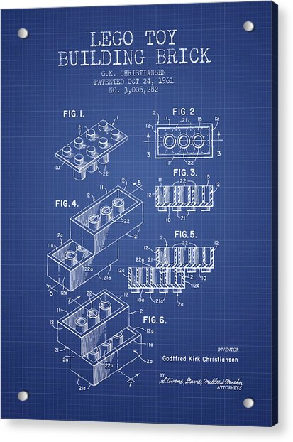 Lego Toy Building Brick Patent From 1961 - Blueprint Acrylic Print