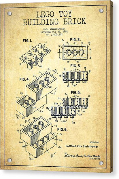 Lego Toy Building Brick Patent - Vintage Acrylic Print