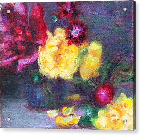 Acrylic Print featuring the painting Lemon And Magenta - Flowers And Radish by Talya Johnson