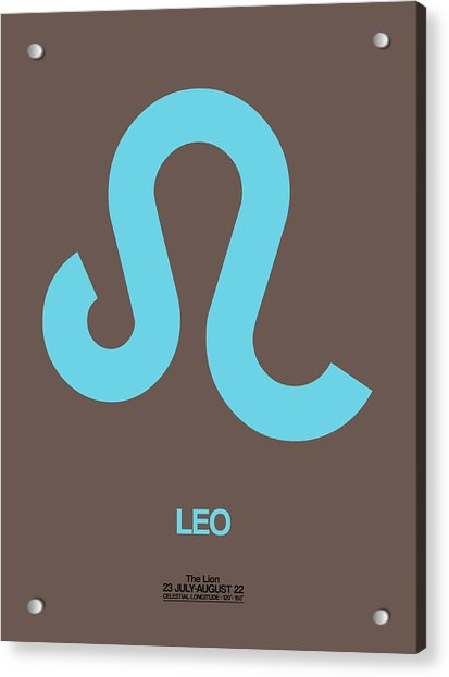 Leo Zodiac Sign Blue Acrylic Print