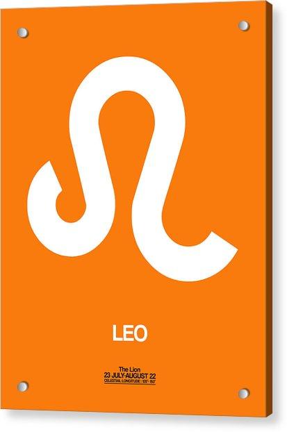 Leo Zodiac Sign White On Orange Acrylic Print