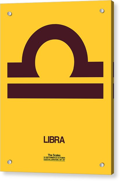 Libra Zodiac Sign Brown Acrylic Print