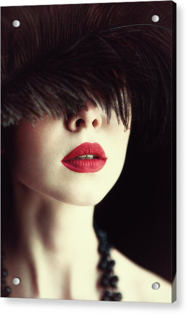 Lips And Feather Acrylic Print