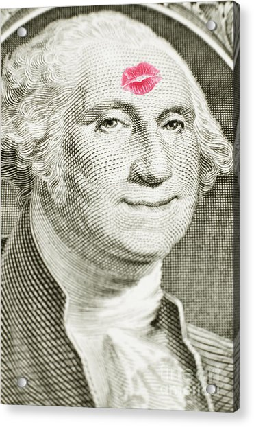 Lipstick Kiss On One Dollar Bill Acrylic Print