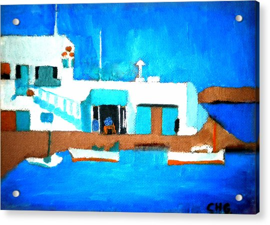 Acrylic Print featuring the painting Paros  Cute Spot On Greek Island by Colette V Hera  Guggenheim