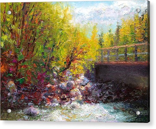 Acrylic Print featuring the painting Living Water - Bridge Over Little Su River by Talya Johnson