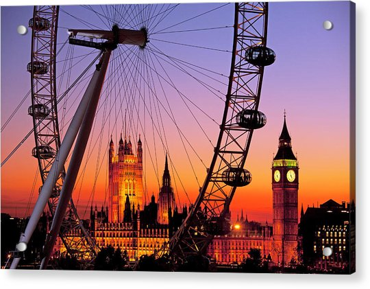 London Eye And Big Ben At Dusk Acrylic Print by Scott E Barbour