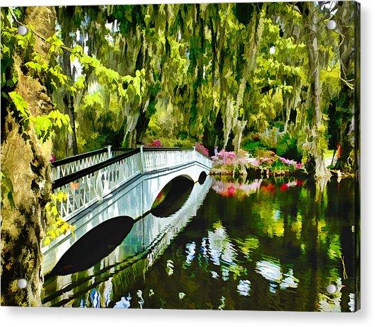 Long White Bridge Faux Painting Acrylic Print