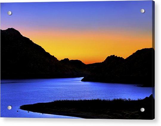Acrylic Print featuring the photograph Looking Through The Quartz Mountains At Sunrise - Lake Altus - Oklahoma by Jason Politte