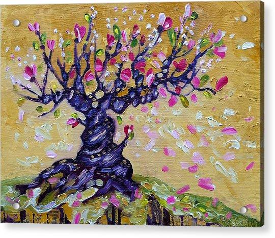 Magnolia Tree Flower Painting Oil On Canvas By Ekaterina Chernova Acrylic Print