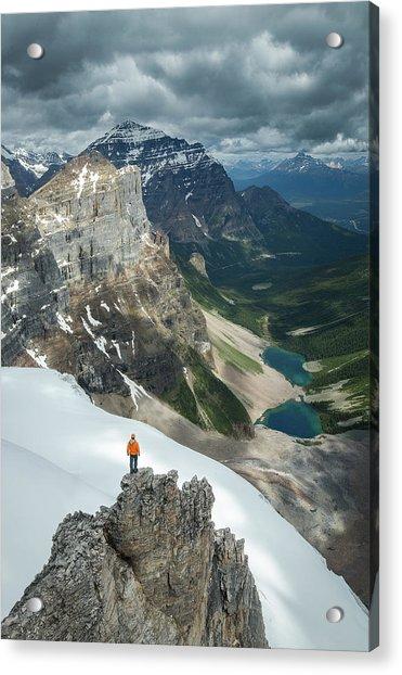 Man Overlooking Consolation Lakes Acrylic Print