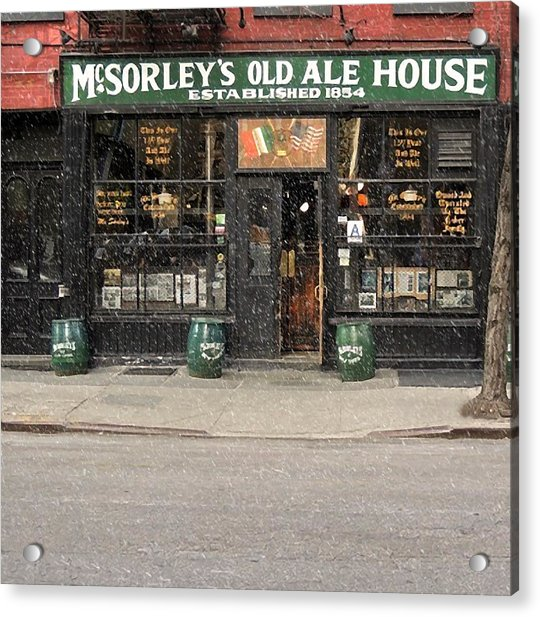 Mcsorley's Old Ale House During A Snow Storm Acrylic Print