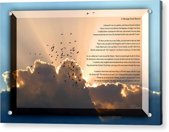 Acrylic Print featuring the photograph Message From Heaven by Carolyn Marshall