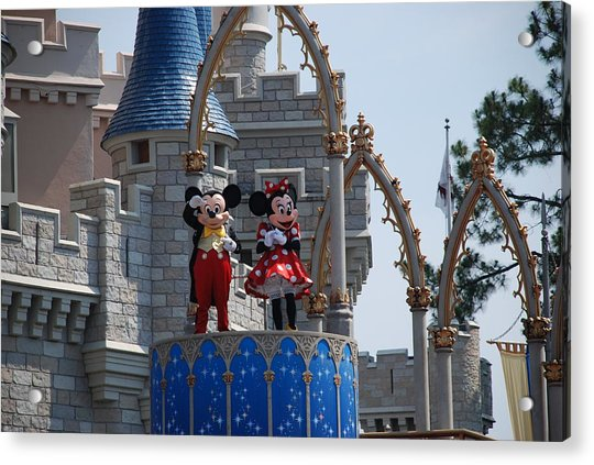 Mickey And Minnie In Living Color Acrylic Print