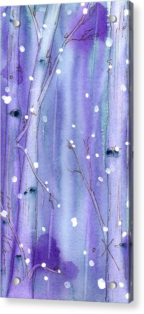 Midnight Snow In The Aspens Acrylic Print
