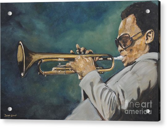 Acrylic Print featuring the painting Miles Davis - Solo by Dwayne Glapion