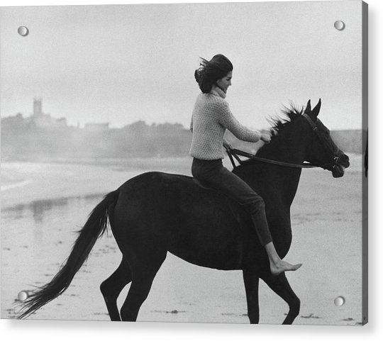 Minnie Cushing Riding A Horse Acrylic Print