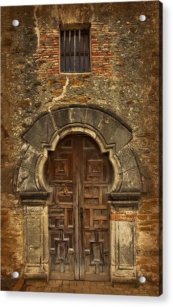 Acrylic Print featuring the photograph Mission Espada Doorway by Jemmy Archer