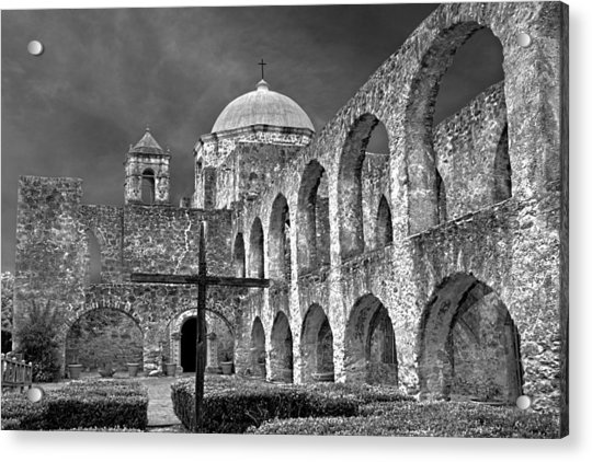 Acrylic Print featuring the photograph Mission San Jose Arches Bw by Jemmy Archer
