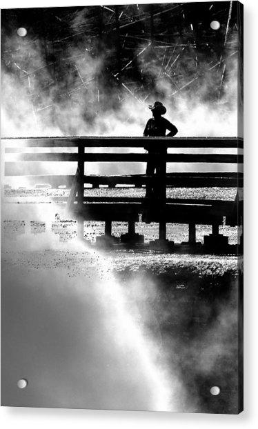 Misty Cowgirl Acrylic Print